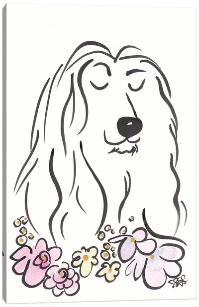 Regal Afghan Hound Dog With Flowers Canvas Art Print