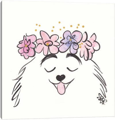 Pretty Pomeranian Dog With Flower Crown Canvas Art Print