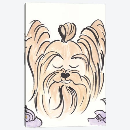 Yorkie Dog With Top Knot Brush Drawing Canvas Print #SSH166} by Shell Sherree Art Print