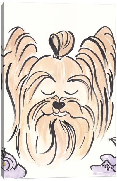 Yorkie Dog With Top Knot Brush Drawing Canvas Art Print