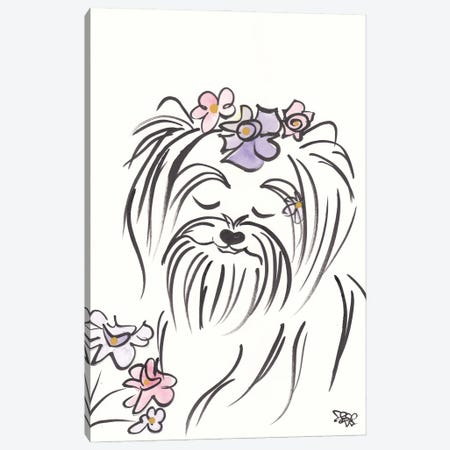 Pretty Yorkie Dog Lucy With Flowers Canvas Print #SSH167} by Shell Sherree Canvas Print