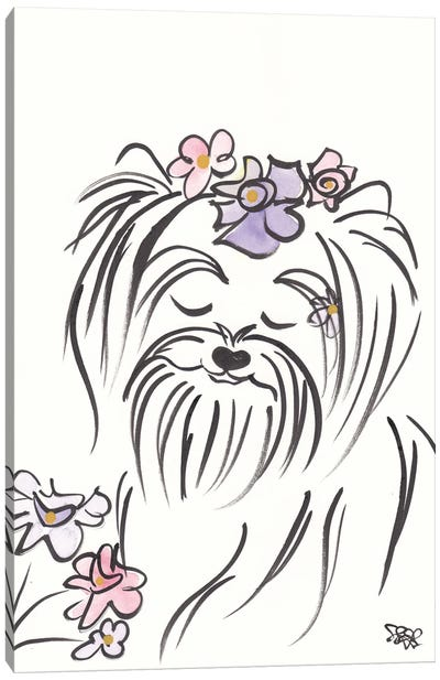 Pretty Yorkie Dog Lucy With Flowers Canvas Art Print