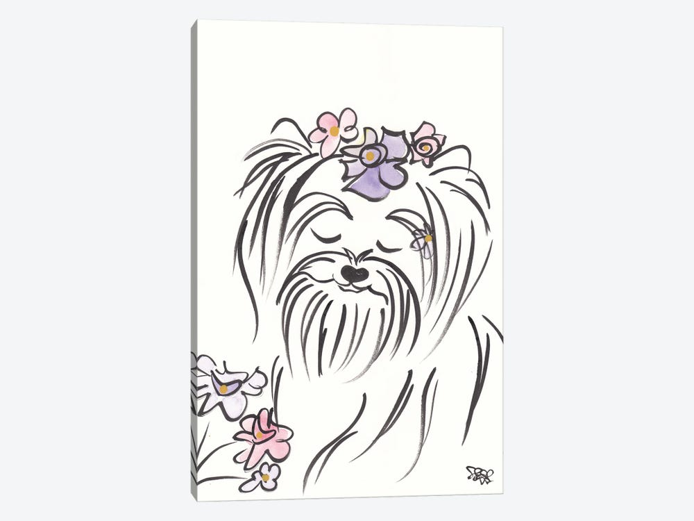 Pretty Yorkie Dog Lucy With Flowers by Shell Sherree 1-piece Canvas Artwork