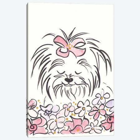 Cute Yorkie Dog Ragamuffin And Flowers Canvas Print #SSH168} by Shell Sherree Canvas Art