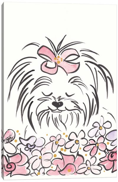 Cute Yorkie Dog Ragamuffin And Flowers Canvas Art Print