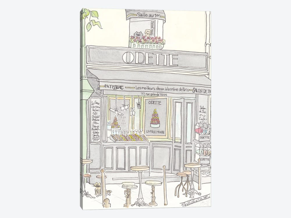 French Patisserie Odette Paris by Shell Sherree 1-piece Canvas Wall Art