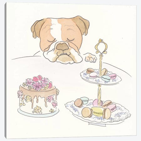 Franklin Bulldog's Sweet Tooth Canvas Print #SSH16} by Shell Sherree Canvas Wall Art