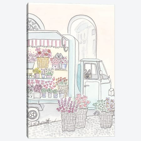 Flower Truck With Flowers, Cat And Dog Canvas Print #SSH171} by Shell Sherree Canvas Art Print