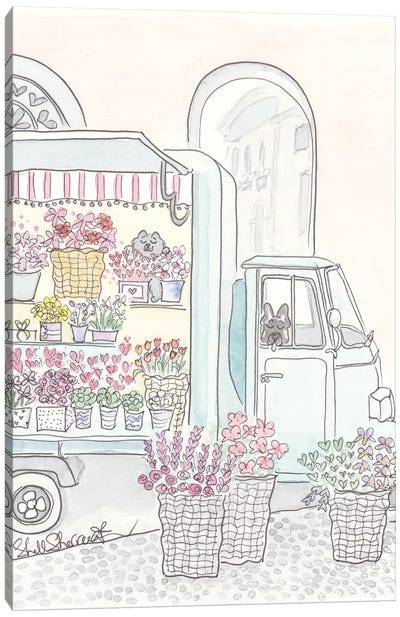 Flower Truck With Flowers, Cat And Dog Canvas Art Print