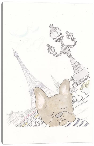 Paris Eiffel Tower Frenchie Photobomb Canvas Art Print