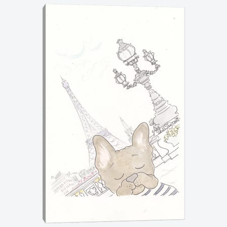 Paris Eiffel Tower Frenchie Photobomb Canvas Print #SSH17} by Shell Sherree Canvas Wall Art