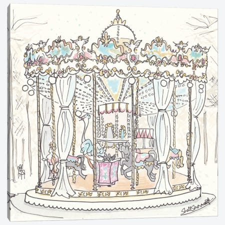 Paris Carousel Tuilerie Gardens Canvas Print #SSH19} by Shell Sherree Canvas Print