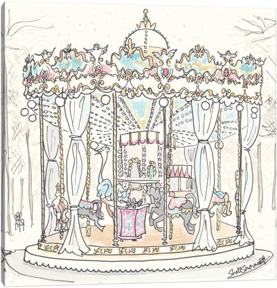 Paris Carousel Tuilerie Gardens Canvas Art Print