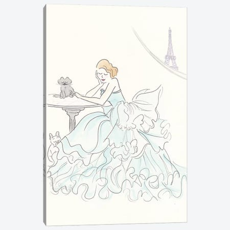 Aqua Ruffle Gown Eiffel View Canvas Print #SSH1} by Shell Sherree Art Print