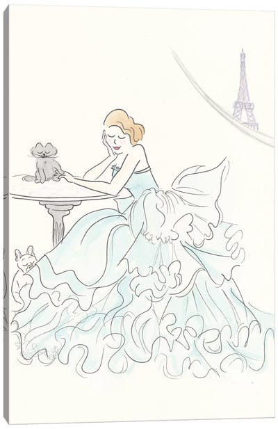 Aqua Ruffle Gown Eiffel View Canvas Art Print