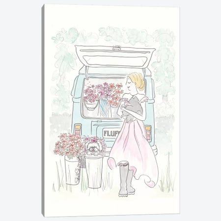 Kombi Flower Power Canvas Print #SSH25} by Shell Sherree Canvas Print