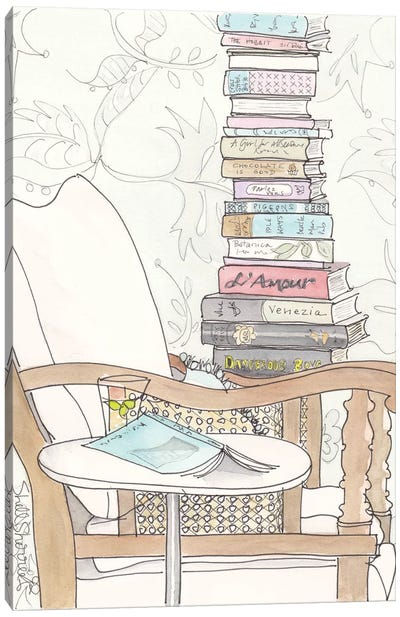 Date With A Stack Of Light Reading Canvas Art Print