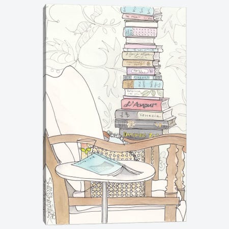 Date With A Stack Of Light Reading Canvas Print #SSH28} by Shell Sherree Canvas Art