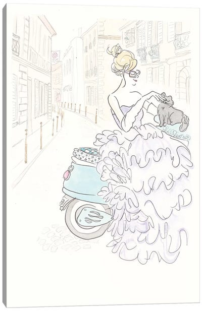 Aqua Scooter Fluffy Glam Canvas Art Print