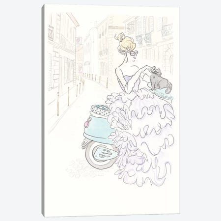 Aqua Scooter Fluffy Glam Canvas Print #SSH2} by Shell Sherree Canvas Print