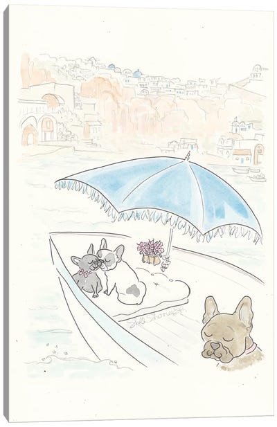French Bulldogs Santorini Sailing Canvas Art Print