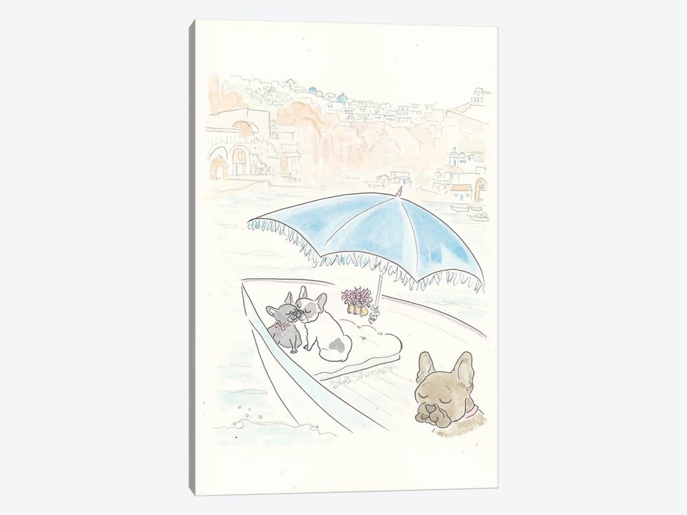 French Bulldogs Santorini Sailing by Shell Sherree 1-piece Canvas Art Print