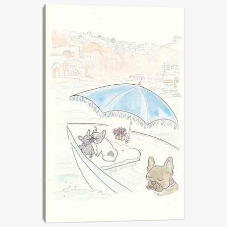 French Bulldogs Santorini Sailing Canvas Print #SSH31} by Shell Sherree Art Print