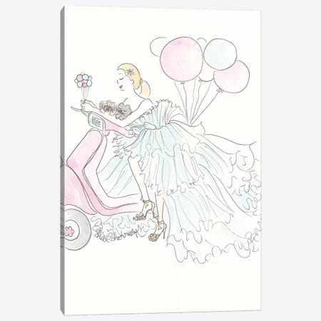 Scootering Aqua Glam With Balloons Canvas Print #SSH34} by Shell Sherree Canvas Artwork