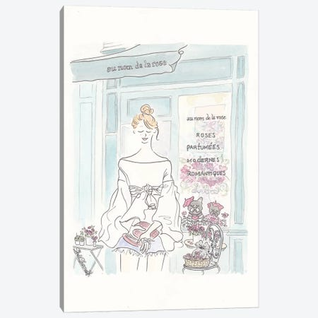 Paris Nom De Rose And Sweet Frenchies Canvas Print #SSH37} by Shell Sherree Canvas Art