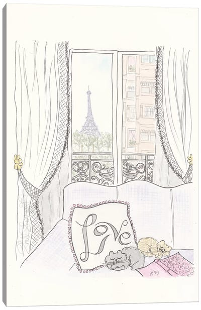 Paris Love Cushions And Kitties Canvas Art Print