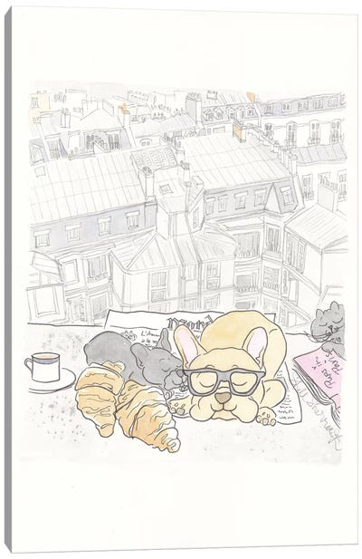 Paris Rooftop Breakfast Frenchies Canvas Art Print