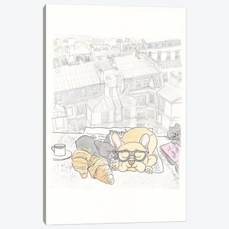 Paris Rooftop Breakfast Frenchies Canvas Print #SSH40} by Shell Sherree Canvas Art