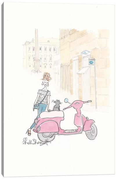 Paris Scooterjacking Canvas Art Print