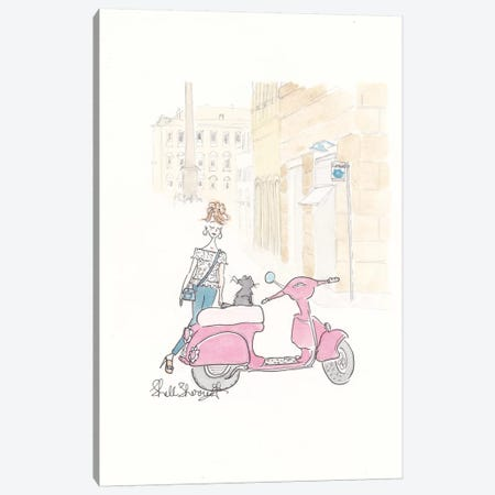 Paris Scooterjacking Canvas Print #SSH42} by Shell Sherree Canvas Artwork