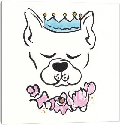 Boston Terrier Petal Pie Crown Canvas Art Print