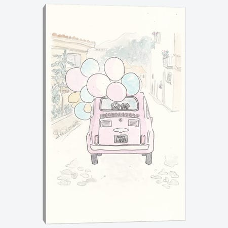 Pink Fiat Fluffy Canvas Print #SSH54} by Shell Sherree Canvas Art