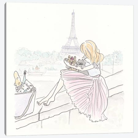 Pink Pleated Paris Cuddles Canvas Print #SSH55} by Shell Sherree Canvas Art