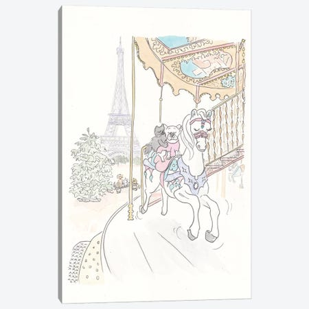 Poppy French Bulldog Paris Carousel Ride Canvas Print #SSH56} by Shell Sherree Canvas Artwork
