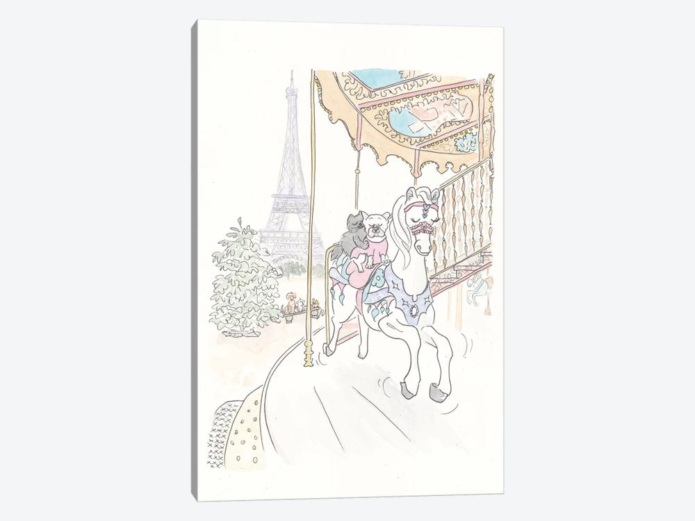 Poppy French Bulldog Paris Carousel Ride by Shell Sherree 1-piece Canvas Artwork