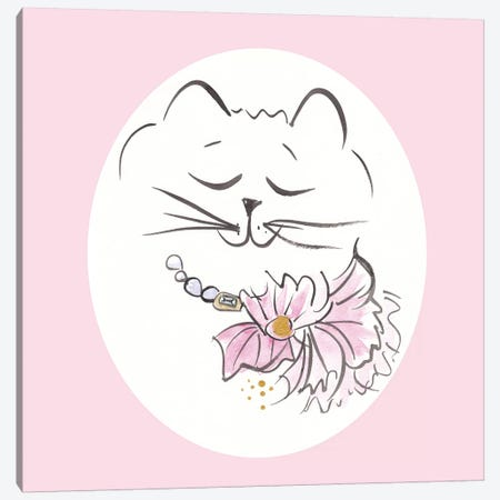 Pretty Kitty Petal Pie In Pink Canvas Print #SSH57} by Shell Sherree Canvas Wall Art