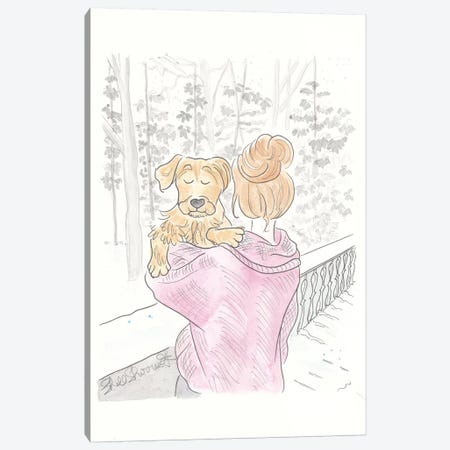 Puppy Hug Pink Winter Canvas Print #SSH59} by Shell Sherree Art Print