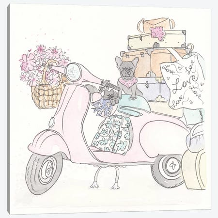 Pink Scooter Frenchie Kitty Canvas Print #SSH61} by Shell Sherree Canvas Art