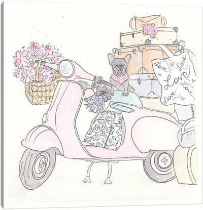 Pink Scooter Frenchie Kitty Canvas Art Print