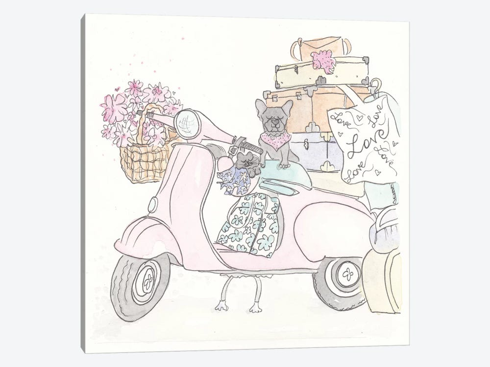 Pink Scooter Frenchie Kitty by Shell Sherree 1-piece Canvas Artwork