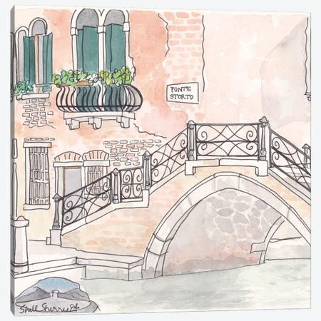 Venice Ponte Storto Canvas Print #SSH72} by Shell Sherree Art Print
