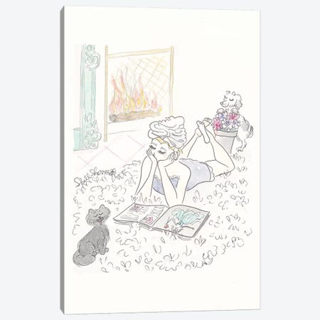 Washing Hair Cosy Night In Canvas Print #SSH76} by Shell Sherree Canvas Wall Art