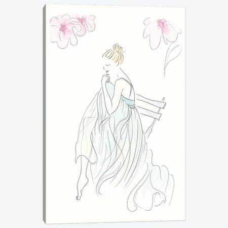 Aqua Ballerina Canvas Print #SSH77} by Shell Sherree Canvas Artwork