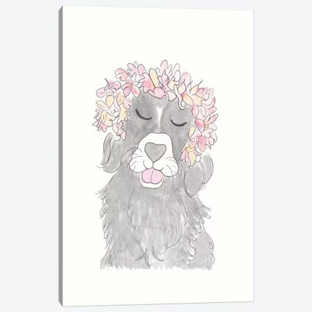 Black Dog Flowers Canvas Print #SSH78} by Shell Sherree Canvas Art Print