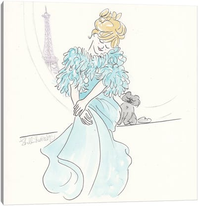 Brigitte Aqua Gown Black Cat Eiffel View Canvas Art Print
