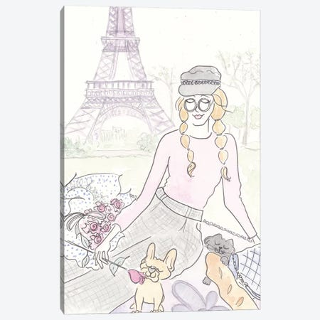 Paris Picnic Frenchie Canvas Print #SSH81} by Shell Sherree Canvas Art